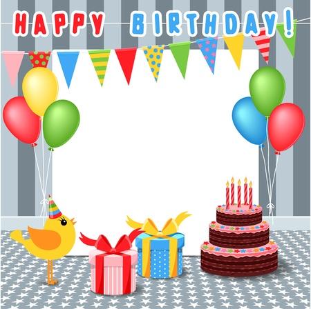 Ilustración de frame with birthday elements - Imagen libre de derechos