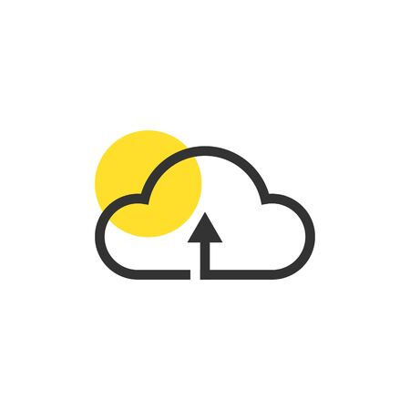 Illustration pour Cloud icon vector, Data, Storage, Cloudy yellow highlight circle - image libre de droit
