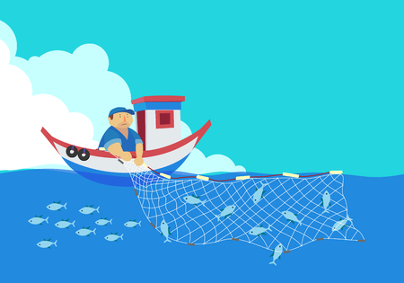 Ilustración de cartoon fisherman, vector - Imagen libre de derechos