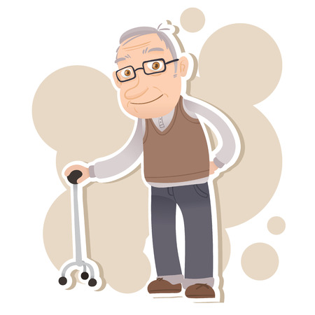 Illustration pour cartoon old man stand with cane and smiling - image libre de droit
