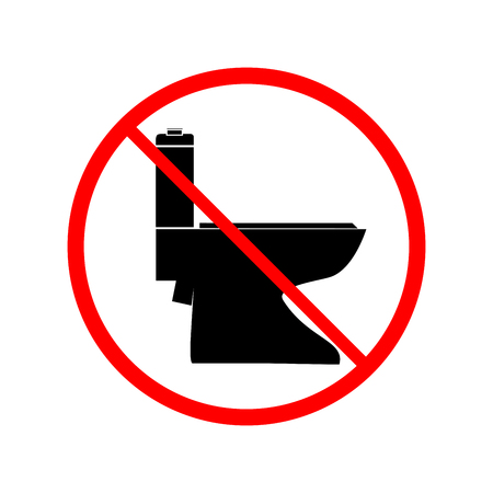 Ilustración de No toilet icon in red circle on white background. Symbol warning no do toilet. Isolated design graphic element. Flat vector image. Template for sign, poster. - Imagen libre de derechos