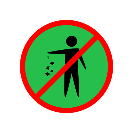 Illustration pour Do not litter sign. Silhouette person on green background. No throwing garbage mark in red circle. Take care of clean nature symbol. Colorful template for badge, banner, label. Vector illustration. - image libre de droit