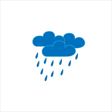 Heavy rain sign. Weather icon. Partly cloudy sign. Gloomy clouds on white background. Frowning sky logo. Flat vector image. Design element. Vector illustration