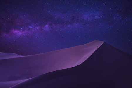 Photo for man looking milky way in desert - Royalty Free Image