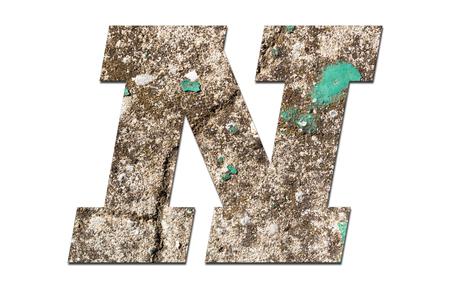 Foto de Letter N alphabet with old  wall on white background - Imagen libre de derechos