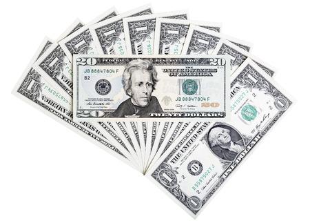 Photo pour Twenty U.S. dollar banknote, abstract background. - image libre de droit