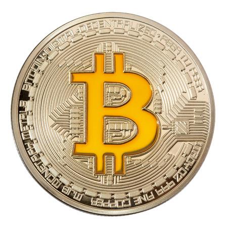Foto de Close up image of golden bitcoin on white backgrouond. High resolution photo. - Imagen libre de derechos