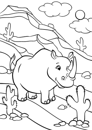 Illustration for Coloring pages. Animals. Cute rhinoceros stands and smiles. - Royalty Free Image