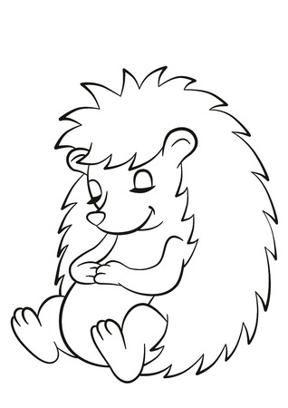 Ilustración de Coloring pages. Little cute hedgehog sits and sleeps. The hedgehog smiles. - Imagen libre de derechos