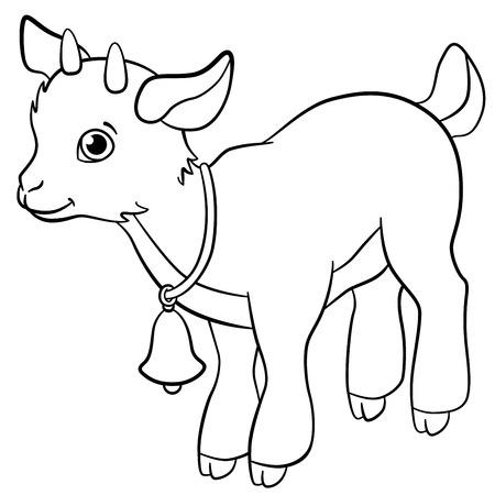 Coloring pages. Farm animals. Little cute goatling smiles.