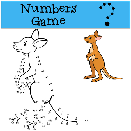 Illustration pour Educational game: Numbers game. Little cute baby kangaroo smiles. - image libre de droit