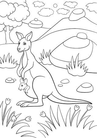 Ilustración de Coloring pages. Mother kangaroo with her little cute baby. - Imagen libre de derechos