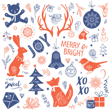 Illustration pour Illustration of a christmas set - image libre de droit