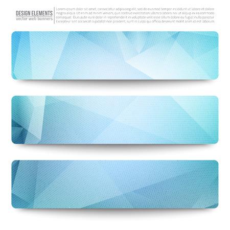 Illustration pour Set of 3 blue vector web banners. Abstract vector polygonal bright background.  - image libre de droit