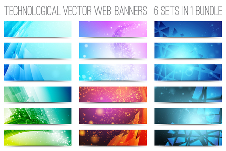 Ilustración de Bundle of 18 abstract digital tech web banners. Vector design elements. Internet technology background. Design vector elements. Media advertising business. Internet business - Imagen libre de derechos