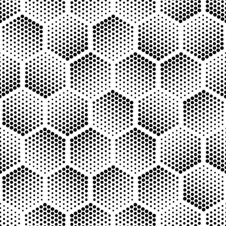 Ilustración de Vector geometric halftone seamless pattern. Retro pointillism vector seamless background. Vector old school design. Vector dotted texture - Imagen libre de derechos