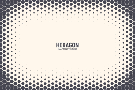 Illustration pour Hexagon Shapes Vector Abstract Geometric Technology Background. Halftone Frame Hex Retro Simple Pattern. Minimal Style 80s Tech Wallpaper - image libre de droit