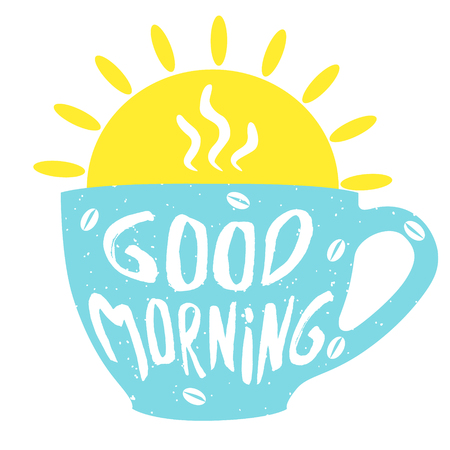 Illustration pour Good morning cup with hand drawn lettering. Cup of coffee. Vector  illustrationon. - image libre de droit