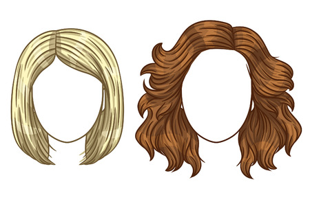 Ilustración de Vector women's haircut. Fashionable women's hair styling. Different types of hair styling. Blonde and brunette with straight and curly hair. - Imagen libre de derechos
