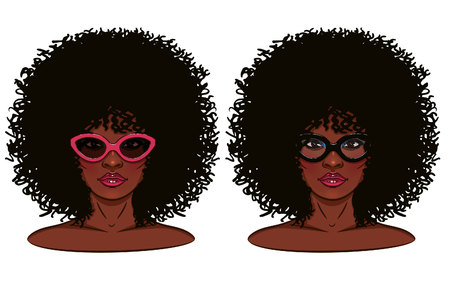 Ilustración de Face of girl. Portrait of a girl with dark skin. Girl in glasses. - Imagen libre de derechos