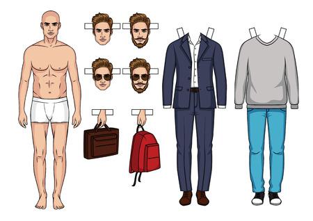 Ilustración de Hand drawn Men's paper doll with clothes, shoes, bags and hairstyle - Imagen libre de derechos