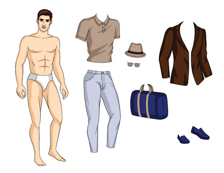 Illustrazione per Vector colorful illustration of a fashionable young man standing in underwear with clothes. Handsome guy with shoes, pants, shirt, jacket and accsessories isolated from white background - Immagini Royalty Free