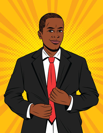 Ilustración de Vector color pop art style illustration of a businessman in suit. A handsome African-American guy in a black jacket. Happy successful Office manager - Imagen libre de derechos