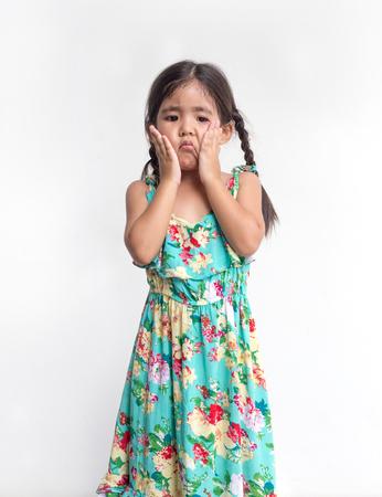 Foto de asian girl play her face with hand on white background - Imagen libre de derechos