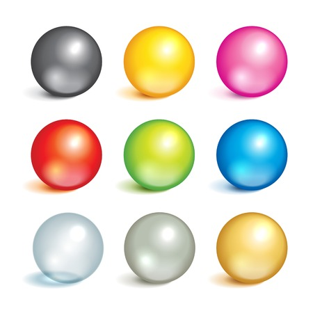 Illustration pour Bright collection of colorful balls of different colors and material, metal, glass, silver, gold. - image libre de droit