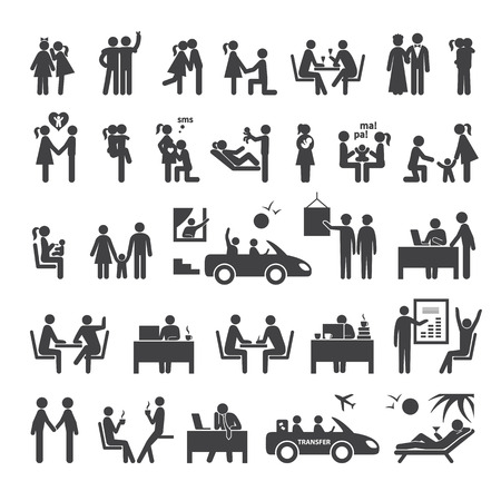 Illustration pour Big set of icons illustrating different relationships between people in society, business, office and family - image libre de droit