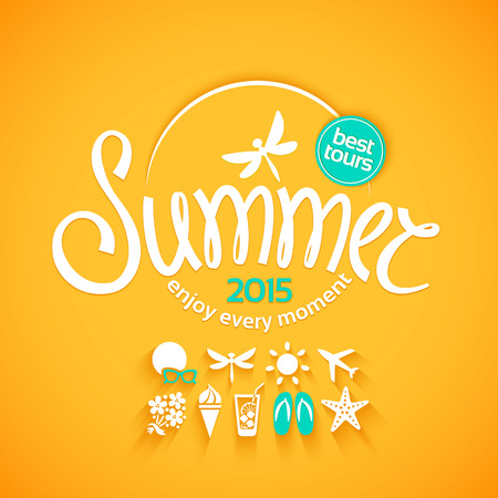 Illustration for Colorful lettering summer and white icons set on yellow background for promotions of the best tour - Royalty Free Image