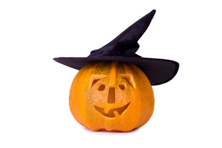 Photo for Halloween pumpkin, funny face in hat, isolated on white background - Royalty Free Image