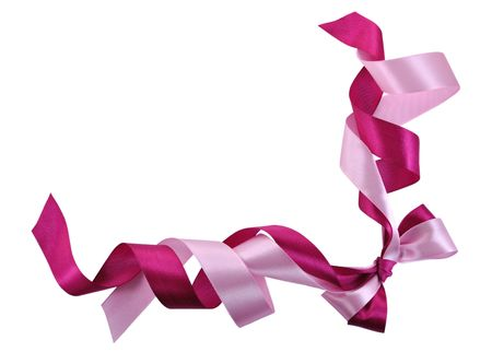 Bow made of Pink Ribbons Isolated on White