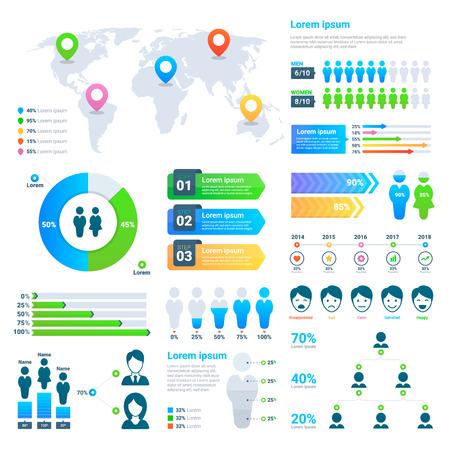 Ilustración de Business statistics graph, demographics population chart, people modern info-graphic vector elements. - Imagen libre de derechos