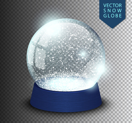 Ilustración de Snow globe empty template isolated on transparent background. Christmas magic ball. Realistic Xmas snowglobe vector illustration. Winter in glass ball, crystal dome icon snowflake and blue stand. - Imagen libre de derechos