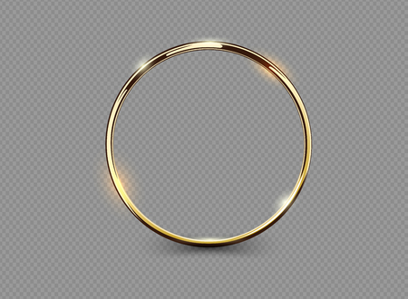Illustrazione per Abstract luxury golden ring on transparent background. Vector light circles spotlight light effect. Gold color round frame - Immagini Royalty Free