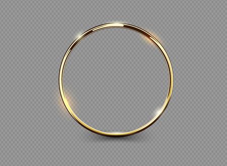 Photo pour Abstract luxury golden ring on transparent background. Vector light circles spotlight light effect. Gold color round frame - image libre de droit