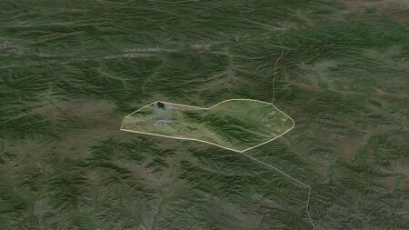 Zoom in on Orhon (municipality of Mongolia) outlined. Oblique perspective. Satellite imagery. 3D rendering
