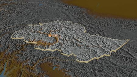 Zoom in on Northern Areas (centrally administered area of Pakistan) extruded. Oblique perspective. Topographic relief map with surface waters. 3D rendering