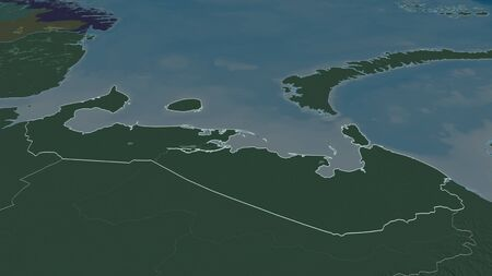 Zoom in on Nenets (autonomous province of Russia) outlined. Oblique perspective. Colored and bumped map of the administrative division with surface waters. 3D rendering