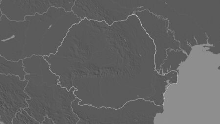 Outlined shape of the Romania area. Bilevel elevation map with surface waters. 3D rendering
