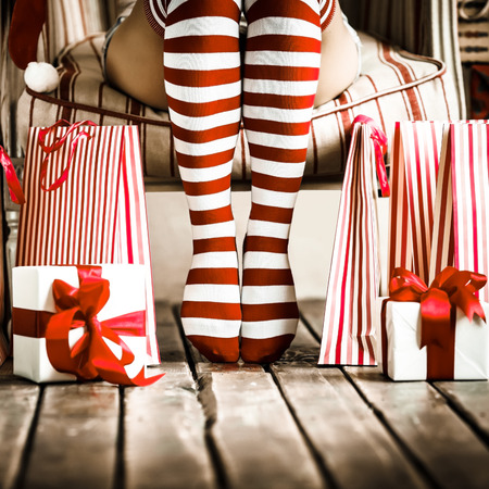 Photo for Sexy woman legs. Christmas concept - Royalty Free Image