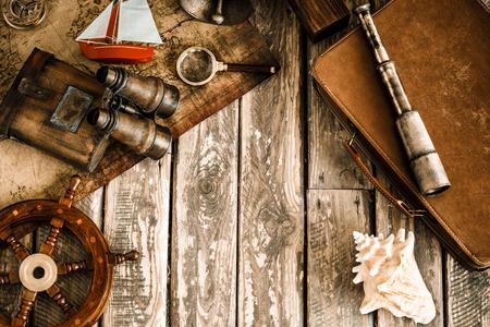 Foto de Vintage nautical things on wood background. Grunge retro toned image with copy space. Travel and adventure concept - Imagen libre de derechos