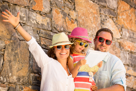 Foto de Happy family on summer vacation. Travel and adventure concept - Imagen libre de derechos