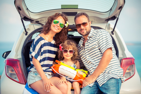 Foto de Family on vacation. Summer holiday and car travel concept - Imagen libre de derechos