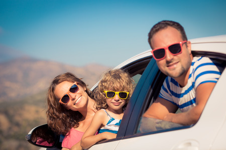 Photo pour Family on vacation. Summer holiday and car travel concept - image libre de droit