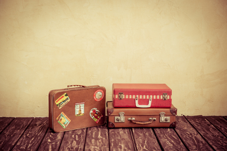 Foto de Vintage classic brown leather suitcase. Travel concept - Imagen libre de derechos