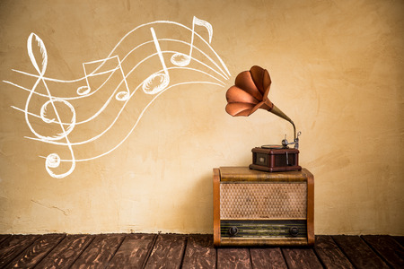 Photo for Vintage radio and gramophone. Retro music concept - Royalty Free Image