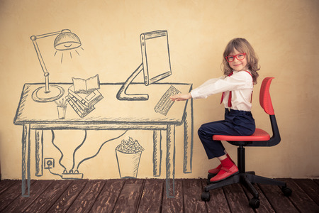 Photo pour Portrait of young businessman kid in office. Success, creative and innovation concept - image libre de droit