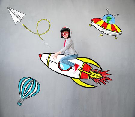 Foto de Portrait of young child pretend to be businessman. Kid playing at home. Success, idea, and creative concept. Copy space for your text - Imagen libre de derechos
